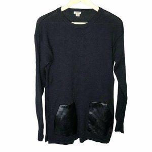 J Crew Sweater 100% Wool Black Pullover Sz Medium